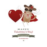 Funny cat Zorro Valentine. Vector romantic greeting card Vector Illustration