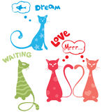Funny cats. Vector illustration - abstract colorful funny cats Royalty Free Stock Images