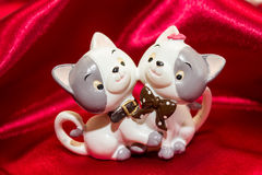 Funny cats. Two funny cats made from ceramic,knick-knack stock photos