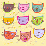 Funny cats. Colorful  funny cats - cute stylish modern vector set Stock Photography