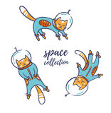 Funny cats astronauts in space isolated on the white background, vector illustration. Cat as a cosmonaut, space suit, funny futuristic design for kids Stock Photo