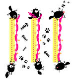 Funny cats. Baby height measure with funny cats (vector in original proportions 1:10, jpg 1:3 Royalty Free Stock Photo