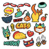 Funny Cats Badges, Patches, Stickers - Cat Fish Clutches in Comic Style Royalty Free Stock Photos