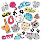 Funny Cats Badges, Patches, Stickers - Cat Fish Clutches in Comic Style Stock Photo