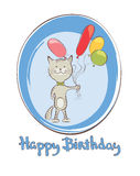 Funny cats with balloons. Vector illustration, birthday card Royalty Free Stock Photo