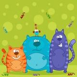 Funny cats and bird vector Stock Photos
