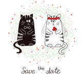 Funny cats, bride and groom. Wedding invitation Royalty Free Stock Image