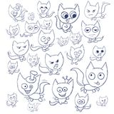 Funny cats contour. Suitable for childrens stories and fairy tales. Illustration Royalty Free Stock Photography