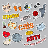 Funny Cats Doodle. Pets Stickers, Badges and Patches with Cat and Kitty Royalty Free Stock Images