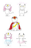 Funny cats doodles. Hand drawn vector doodles of cute funny cats - a cat in love with a beautiful princess, with hearts, a king in a crown, dancing ballet royalty free illustration
