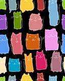Funny cats family, seamless pattern for your design Stock Photos