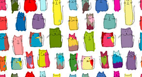 Funny cats family, seamless pattern for your design Stock Images