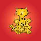 Funny cats family for your design Royalty Free Stock Photos
