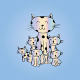 Funny cats family for your design Stock Photo