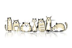 Funny cats family for your design Royalty Free Stock Image