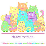 Funny cats with fish. Funny colorful cats with fish. Vector illustration. illustration for postcard, poster, your design Stock Photo