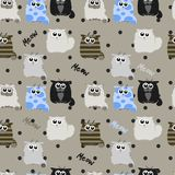 Funny cats on gray background. Pattern in child style Royalty Free Stock Photos