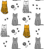 Funny cats handdrawn pattern vector Royalty Free Stock Photo