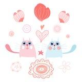 Funny cats with hearts Stock Photos