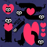Funny cats with hearts Royalty Free Stock Images