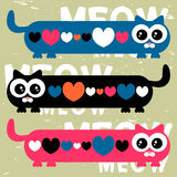 Funny cats and hearts Royalty Free Stock Photography