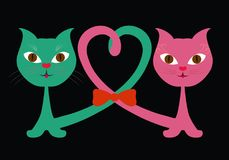 Funny cats in love on a black background.  Stock Photos