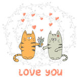 Funny cats in love. Hand drawn vector illustration Stock Image