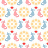 Funny cats in love. Hearts and abstract round flowers. Cute seamless pattern. vector illustration