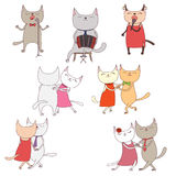 Funny cats in a milonga royalty free illustration