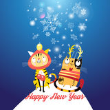 Funny cats in the New year Royalty Free Stock Images