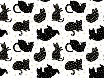 Funny cats pattern black on white with gold dots vector. Seamless Royalty Free Stock Photo