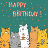 Funny cats with presents. Birthday vector card template. Doodle vector illustration Royalty Free Stock Photography