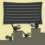 Funny cats on the roof. Decorative template of card. Vector Royalty Free Stock Image