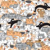 Funny cats seamless pattern background vector illustration