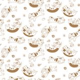 Funny cats seamless pattern background royalty free illustration