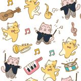 Funny cats seamless pattern background. Funny cats with musical instrument seamless pattern background vector illustration