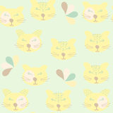 Funny cats seamless pattern and seamless pattern in swatch menu, Royalty Free Stock Photo
