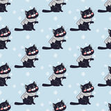 Funny Cats Seamless Pattern Vector in Flat Design Royalty Free Stock Images