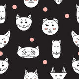 Funny cats. Seamless texture. Vector Stock Images