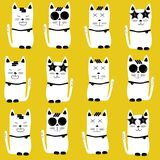 Funny cats seamless yellow background. Funny cats seamless pattern on yellow background Stock Photos