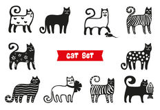 Funny cats set. Black cats silhouette collections. Cartoon style. Stock Photos