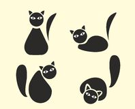 Funny cats silhouette. Funny cartoon cats, black silhouettes Royalty Free Stock Images