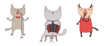 Funny cats singing and playing bandoneon Stock Photo