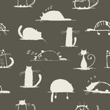 Funny cats sketch, seamless pattern for your Royalty Free Stock Photo