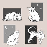 Funny cats sketches set one Royalty Free Stock Photography