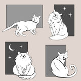 Funny cats sketches set three Royalty Free Stock Photography
