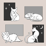 Funny cats sketches set two Stock Images
