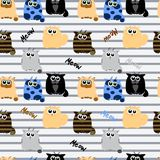Funny cats on striped background. Pattern in child style Stock Photos
