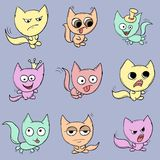 Funny cats. Suitable for childrens stories and fairy tales. Illustration Royalty Free Stock Image