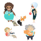 Funny cats with their owners. Vector flat illustration Royalty Free Stock Image